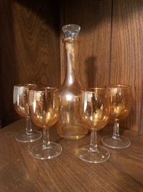 Vintage decanter and matching goblets with marigold flashing