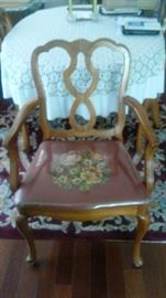 2 end chairs with arms, needle point seat