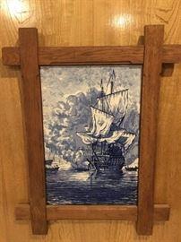 Kanonschot Vintage Delft Blue HandPainted Tile