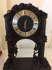 Leather Roses Clock