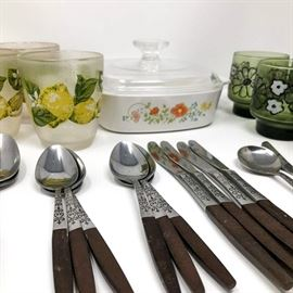 Danish Modern Stainless Flatware, Pyrex and Vintage Juice Glasses