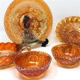Marigold Carnival Glass Including Fenton