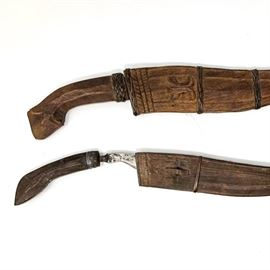 Antique African Like Knives With Ornate Wood Sheath