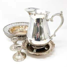 Silver Plate Pieces and Weighted Sterling Candlesticks