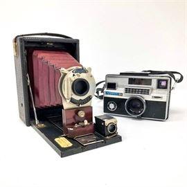 Antique Kodak Premo Pocket C with red bellows (1904-1916) Camera and Instamatic 804 Camera