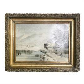 Vintage Winter Landscape Oil Unsigned