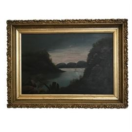 Antique Oil on Canvas Loch Scene