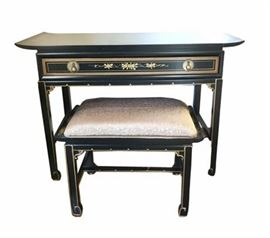 Vintage Drexel Chinoise Desk and Bench - Signed