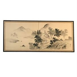 Vintage Japanese Double Screen Ink Wash Painting With Red Seal