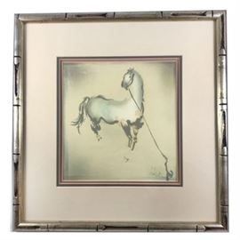 Mid-Century Watercolor Stallion Signed