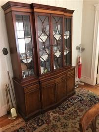 China cabinet. Inlaid breakfront, part of full dining set.