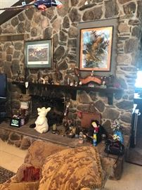 Fireplace items and art