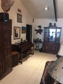 Beautiful player piano and hutch