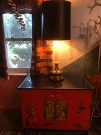 1960s Asian Modern Black & Asian Red Lacquered Cabinet Oriental Relief Bi-Fold Doors Rolled Edge Gold Accent Brass Caps. TV has been removed. It was given as a Christmas gift from  Senator Barry Goldwater. Who ran for president in 1964.
