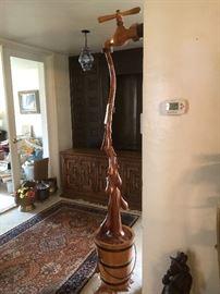 Beautiful cypress wood decor faucet