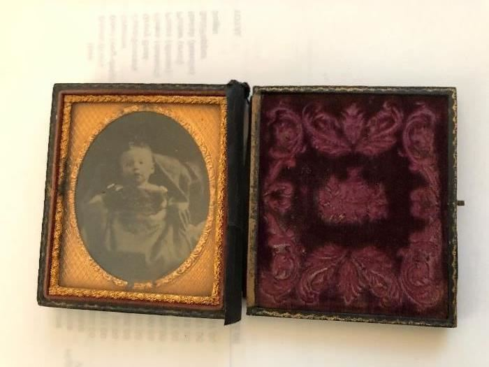 Antique tintype photo in book case with clasp Circa1850