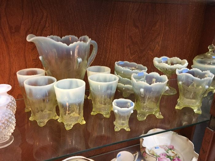 Opalescent Pitcher and Glasses, Vaseline Glass