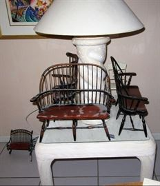 tannenbaum lamp and doll chairs