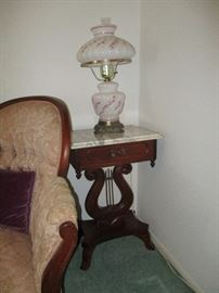 Pr. Marble Top Side tables and Pr. Gone w/ Wind Lamps