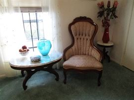 Nice Smaller Marble Top Table and one of a pair of Sitting Chairs and small stools or side tables