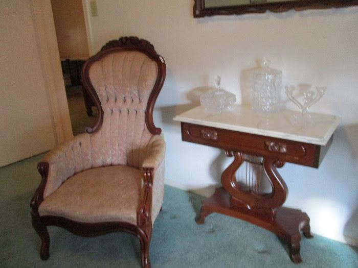 NIce Matching Fancy Victorian Chair with Smaller Side Table w/ Marble top