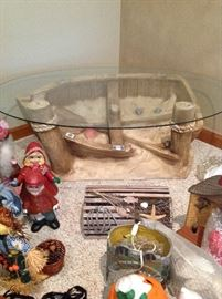 Nautical glass table and lots of decoration