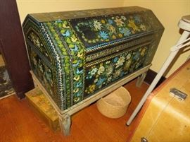 Mexican folk art wooden hand painted chest