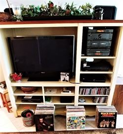 """Electronics: Pioneer 42"""" Flat Screen, Fisher Stereo System, VCR, CD's, 45 Records and DVD Player."""