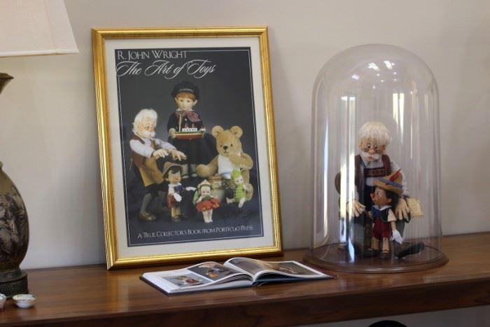 R John Wright Disney Geppetto and Pinocchio, Book and Signed Poster