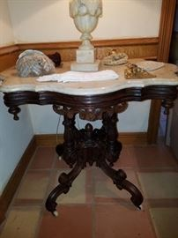 Eastlake side table with marble turtle table top