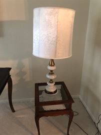 Marble Lamp $50.  Antique table $65