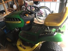 "John Deere Lawn Mower, 110 hours. 19 1/2 HP, 500 CC output, 32"" cut, date of manufacture:  May 2012.  $500"