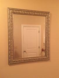 Silver framed mirror $30