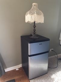 small refrigerator, cast iron base lamp