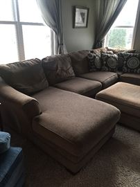 large sectional couch with accent pillows