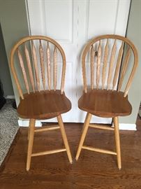 2 kitchen counter stools-all wood