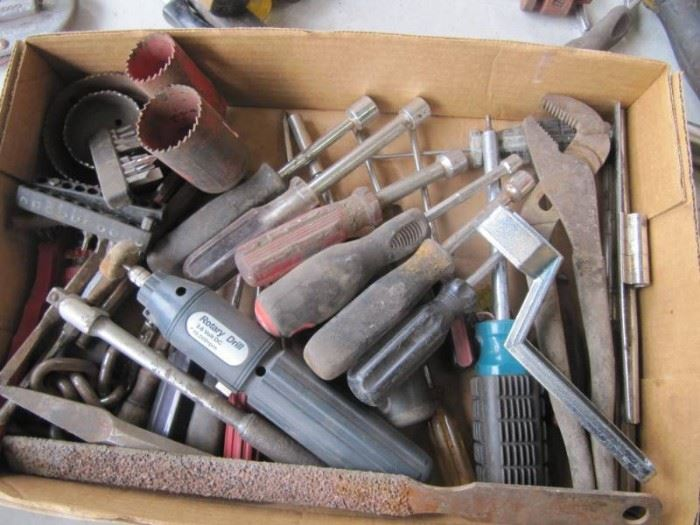 Box of Misc ToolsPliers Hole Saws ETC