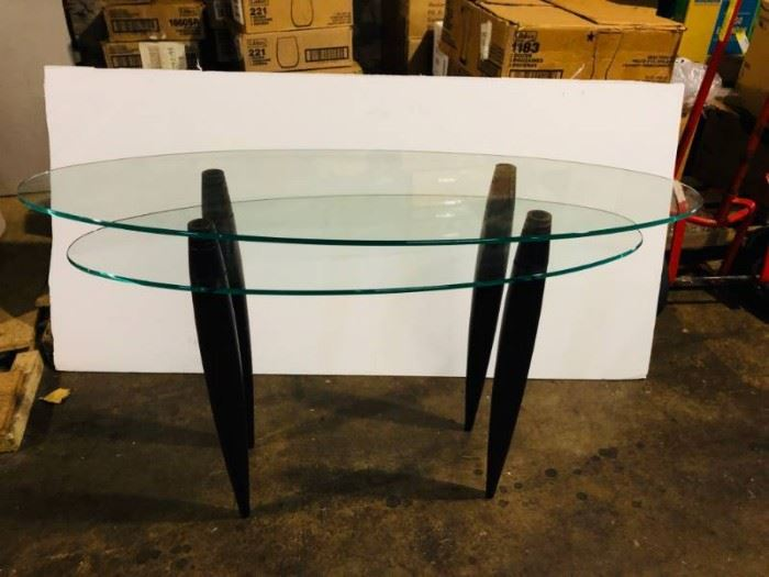 Oval Glass Sofa table with purple stained wood leg ...
