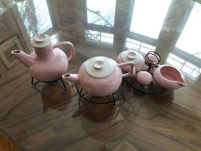 Pink White Mid Century Art Deco Tea Set