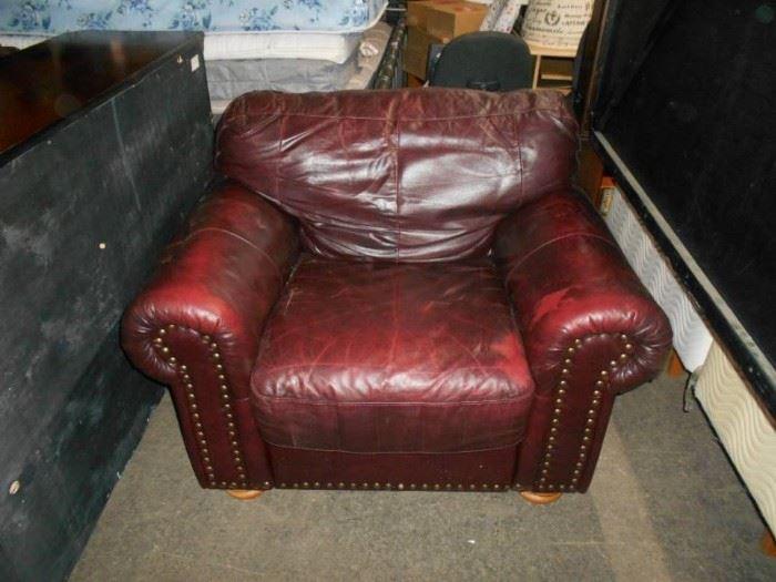 Burgundy Leather OS Chair