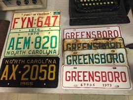 Vintage N.C. License Plates and Greensboro, N.C. City Tags