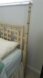 """Headboard Shangri-La Collection by Dixie Furniture.  """"Beautiful Oriental Group, finished in antique white with powder blue trim, accented with a touch of bamboo."""