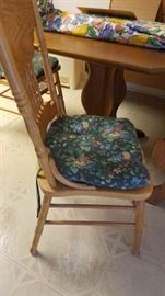 Oak chairs, maple table