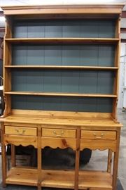 Solid Wood Hutch with green back-1960's-70's