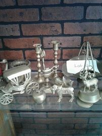 Brass carriage, candlesticks, reindeer, pitcher https://ctbids.com/#!/description/share/65263