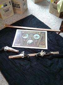 Mounted replica guns, metal sign https://ctbids.com/#!/description/share/65346