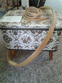 Sewing foot stool, embroidery hoops https://ctbids.com/#!/description/share/65290