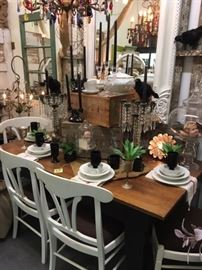 Custom rustic dining table and vintage chairs