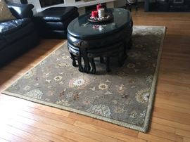 Asian mother of pearl coffee table with stools; area rug
