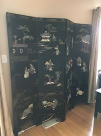 4 panel Asian room divider, hand painted